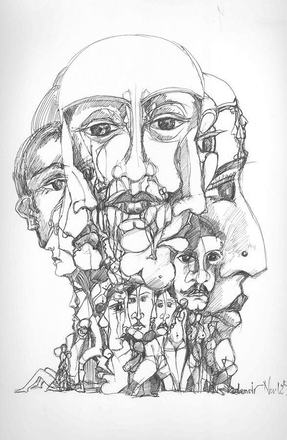 Surreal Drawing - Heads by Padamvir Singh
