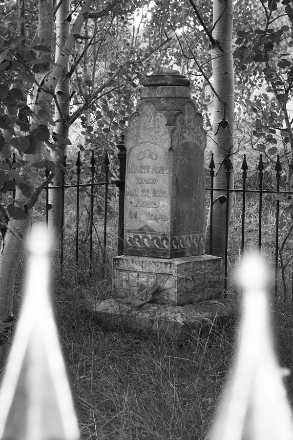 Black And White Photograph - Headstone Near Central City Colorado by Robert Gladwin