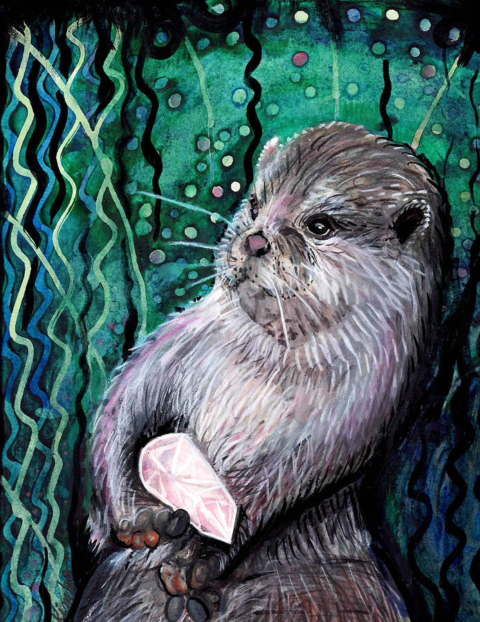 Watercolor Painting - Healing Otter by Kimbo Jackson