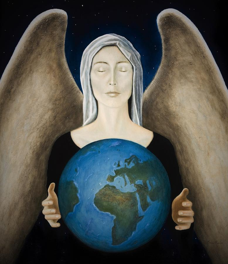 Angel Painting - Healing the Planet by Nanne Nyander