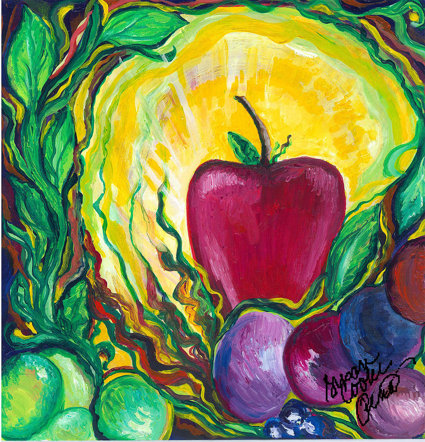 Apple Painting - Health by Susan Cooke Pena