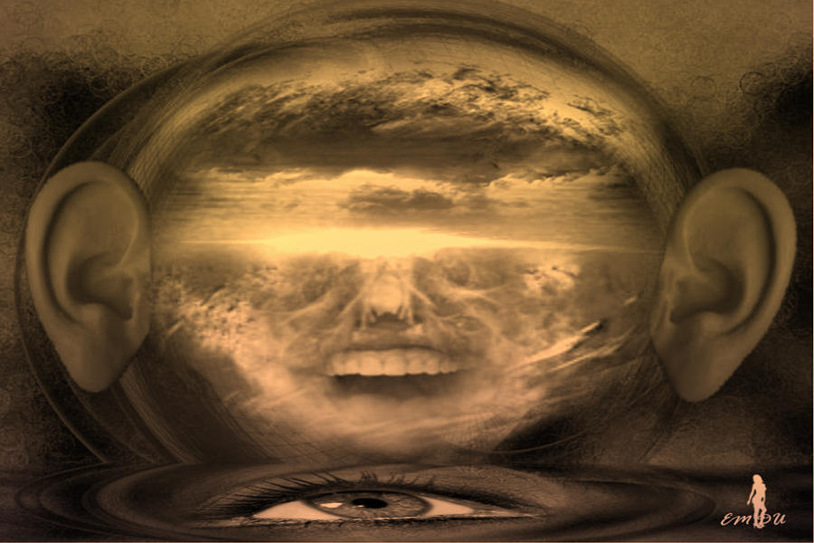 Earth Digital Art - Hear And See The Crying Earth by Maria Datzreiter