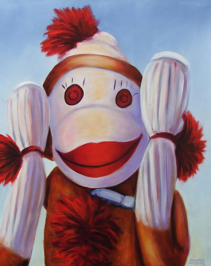 Children Painting - Hear No Bad Stuff Sock Monkey by Shannon Grissom