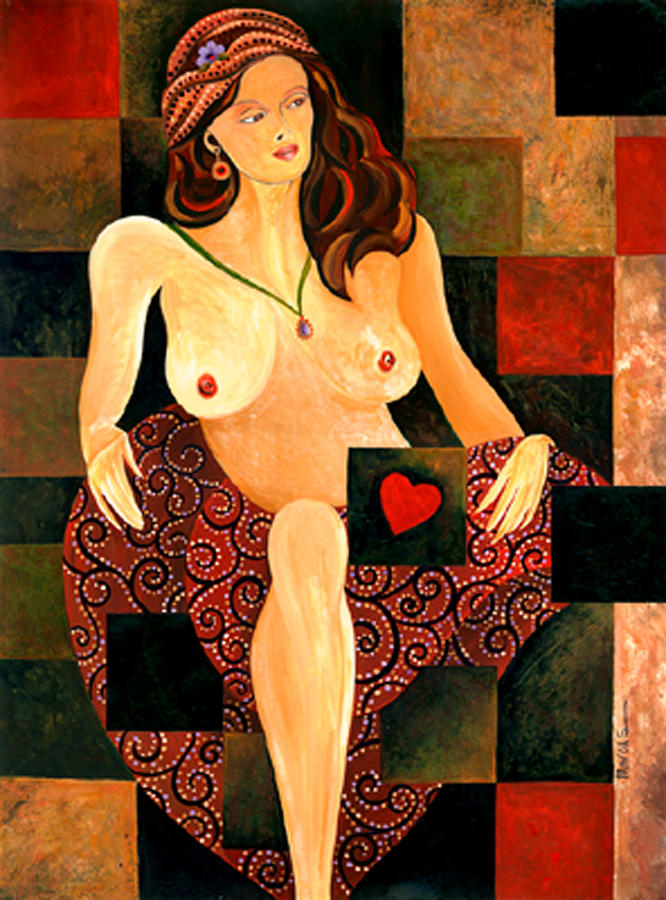 Heart Between Her Legs Painting by Leslie Marcus