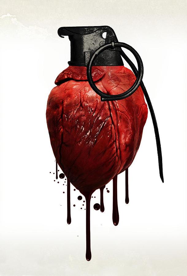 Heart Mixed Media - Heart Grenade by Nicklas Gustafsson