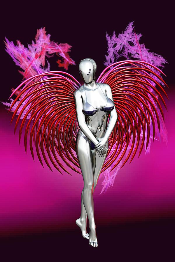 Gynoid Digital Art - Heart Gynoid by Dan Redding