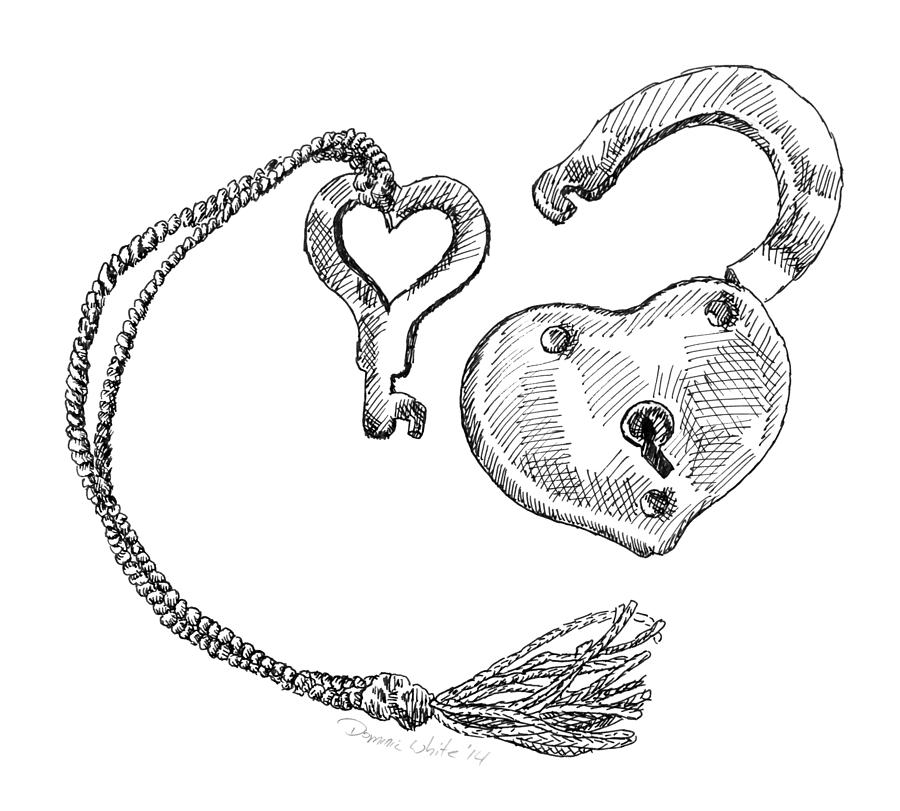 Heart Lock And Key Drawing By Dominic White