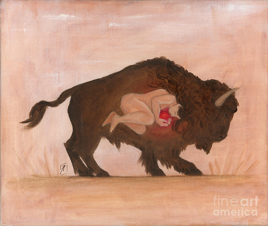Buffalo Painting - Heart Of The Buffalo by Brandy Woods