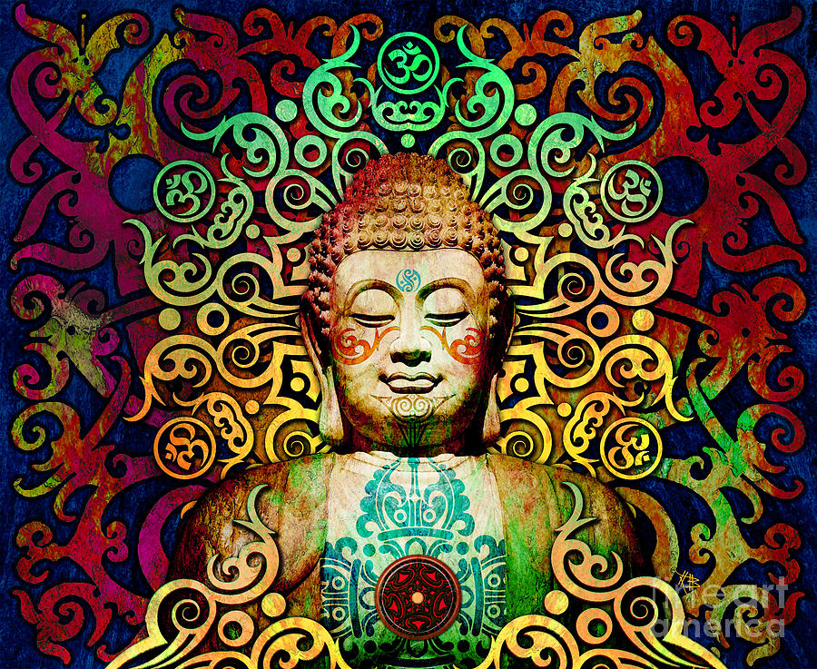 Heart of Transcendence - Colorful Tribal Buddha by Christopher Beikmann