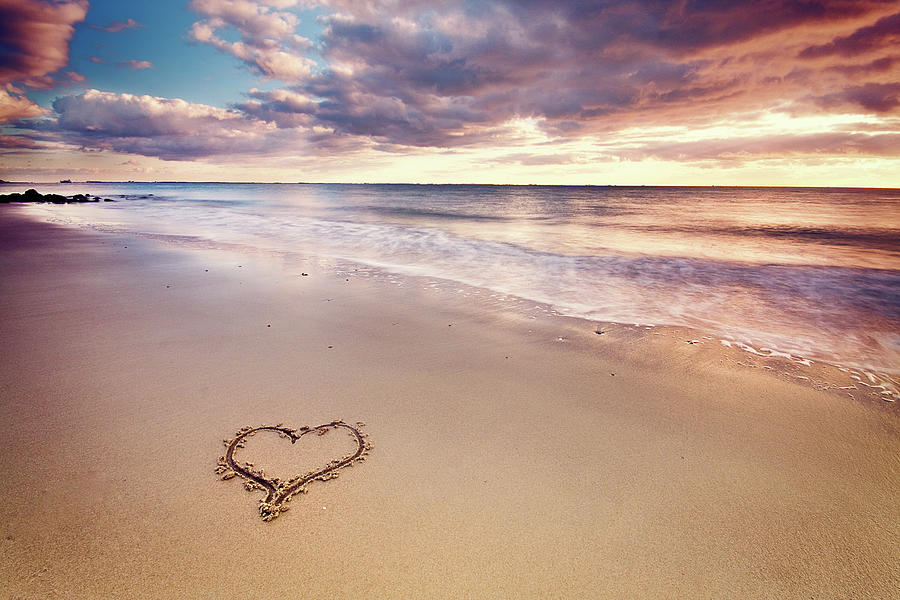 Horizontal Photograph - Heart On The Beach by Elusive Photography