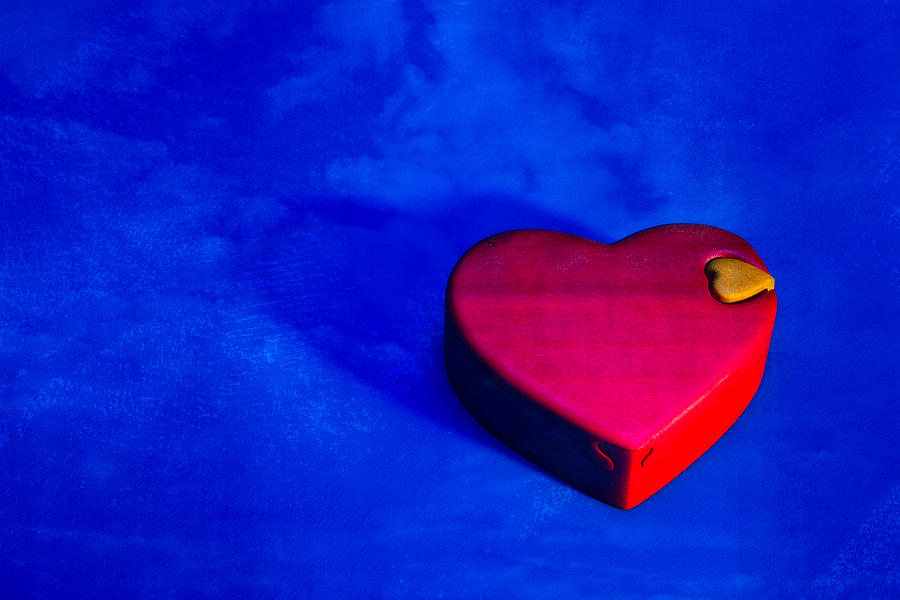 Heart Puzzle Box On Blue Photograph
