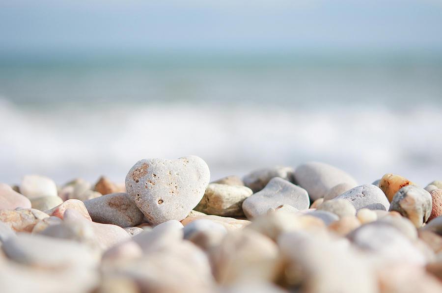 Horizontal Photograph - Heart Shaped Pebble On The Beach by Alexandre Fundone