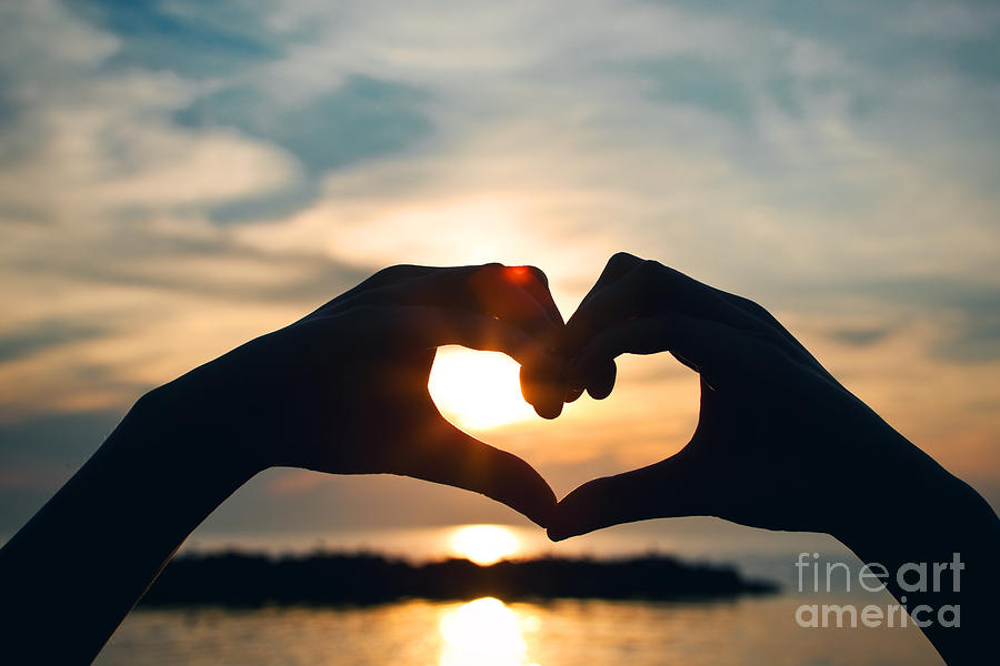 Hands Photograph - Heart Shaped Sunset by Sharon Dominick