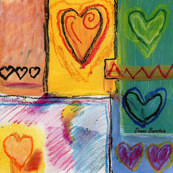 Heart Painting - Heart To Heart by Donna Burstein