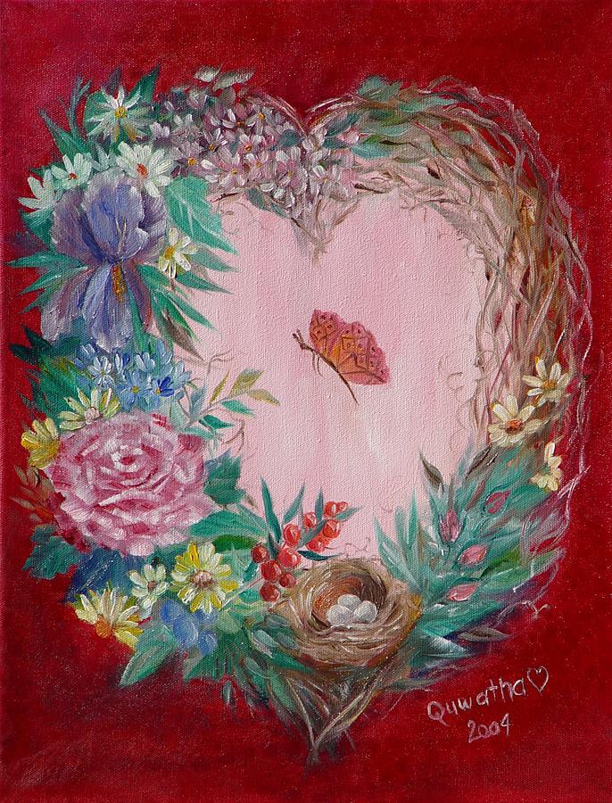 Heart Painting - Heart Wreath by Quwatha Valentine