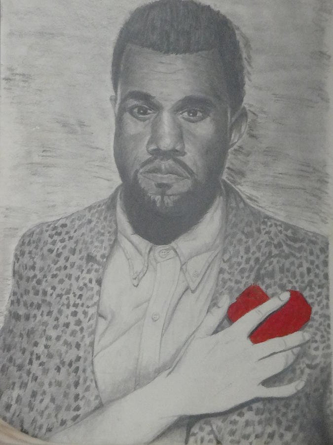 Kanye West Artwork Drawing - Heartbreak Kanye West by Kevin  Williams