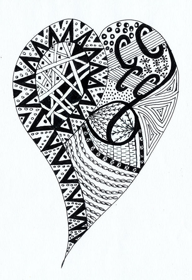 Zentangle Drawing - Heartfelt by Bev Donohoe