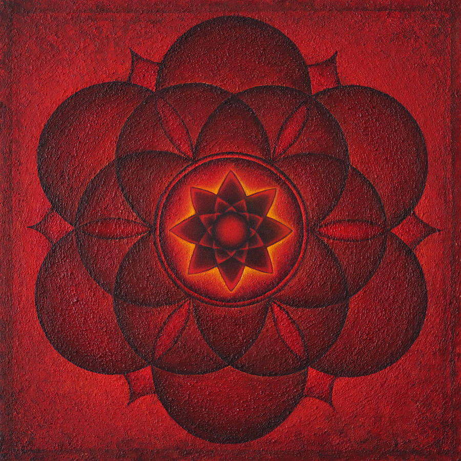 Mandala Painting - Heartlight by Erik Grind