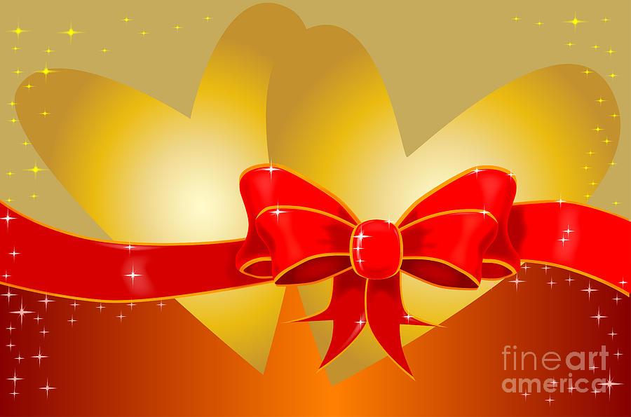 Valentine Digital Art - Hearts And Bow by Bigalbaloo Stock