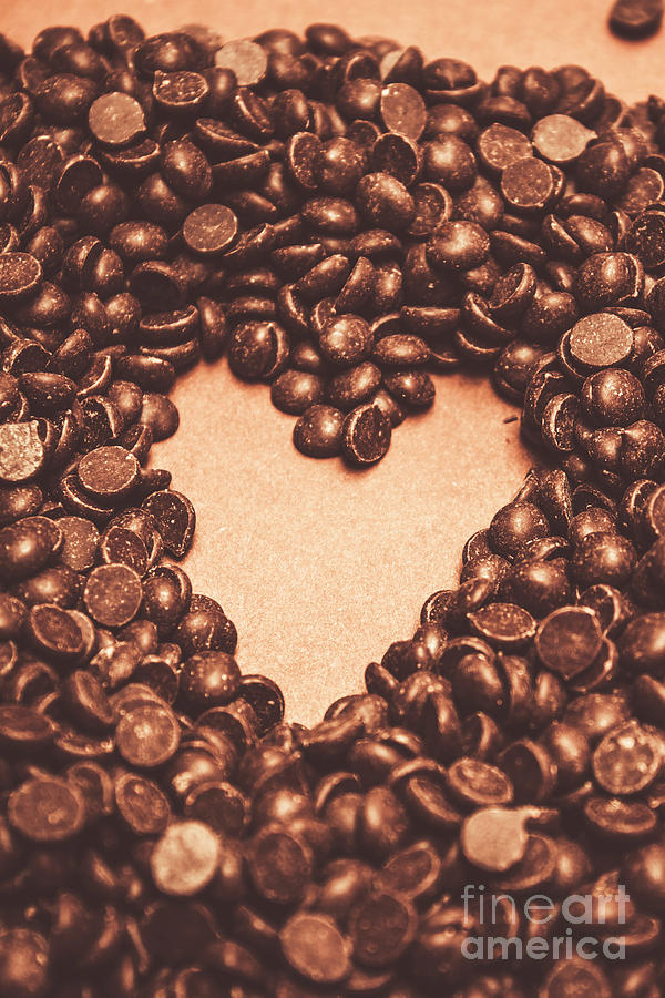 Chocolate Photograph - Hearts And Chocolate Drops. Valentines Background by Jorgo Photography - Wall Art Gallery