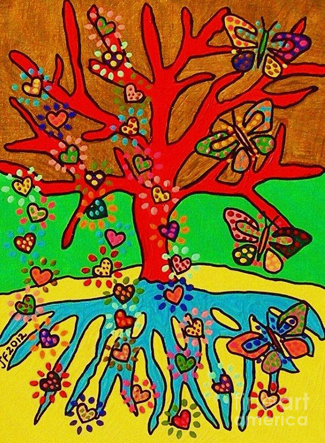 Hearts Painting - Hearts Grow Into Butterflies by Sandra Silberzweig