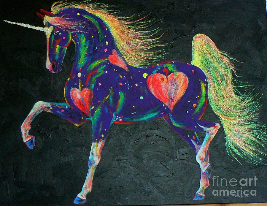 Prancing Horse Mixed Media - Hearts On Fire Pony by Louise Green