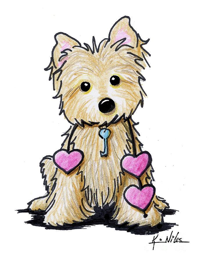 Cairn Drawing - Heartstrings Cairn Terrier by Kim Niles