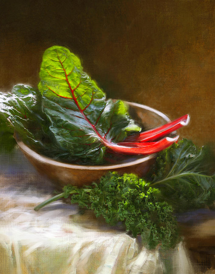 Vegetables Painting - Hearty Greens by Robert Papp