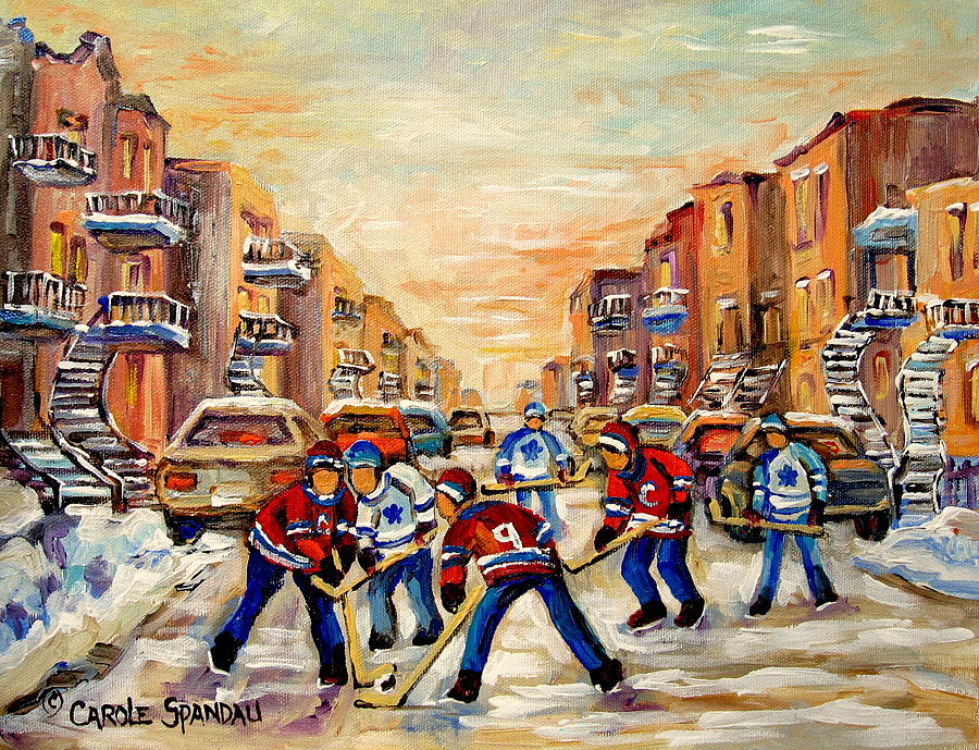Hockey Painting - Heat Of The Game by Carole Spandau