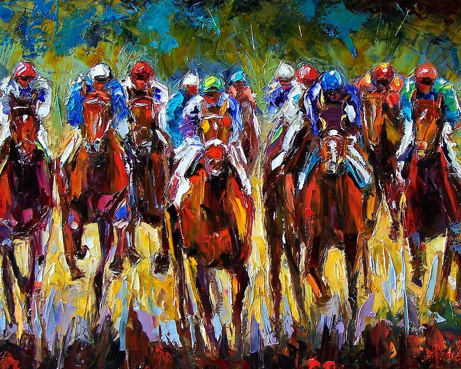 Equestrian Painting - Heated Race by Debra Hurd