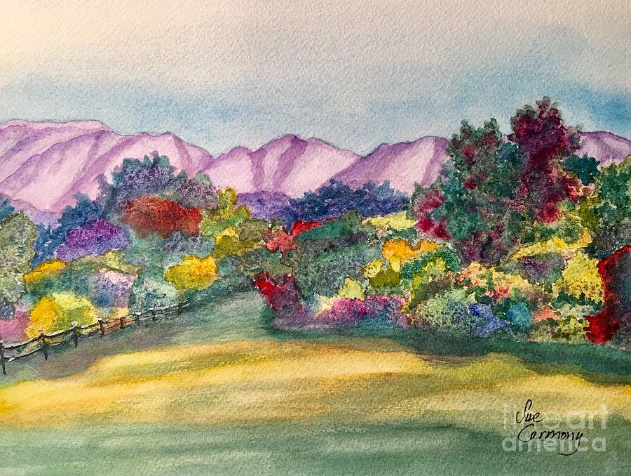 Mountains Painting - Heavenly Gardens by Sue Carmony
