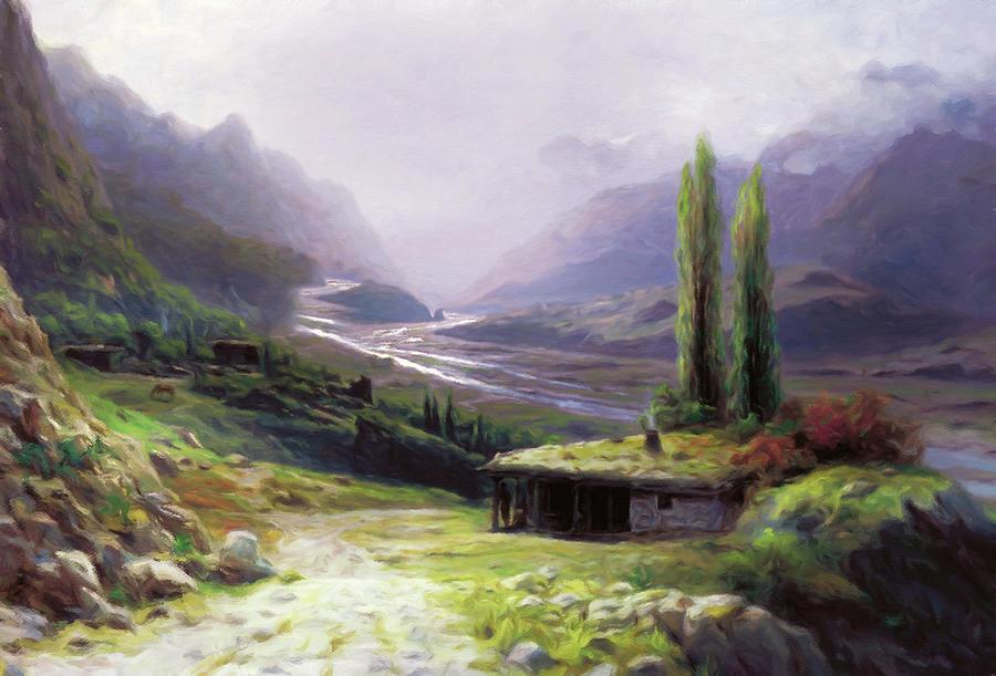 Mountain Landscape Mixed Media - Heavenly Gorge Of Caucasus  by Georgiana Romanovna