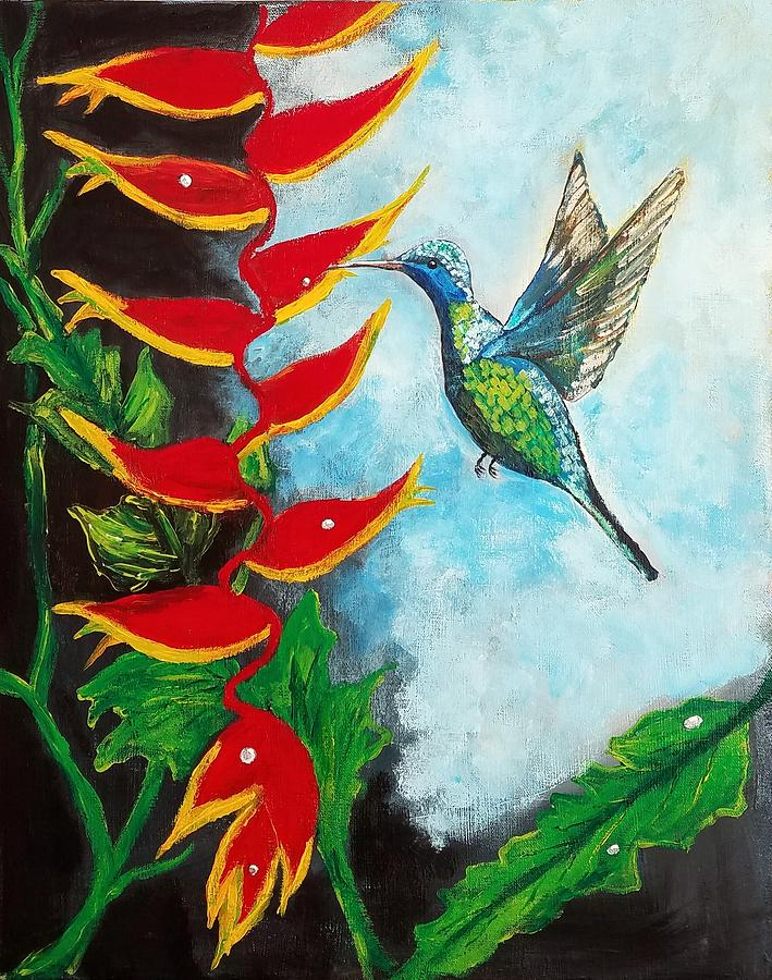 Heliconia Painting - Heavenly Heliconia by Deepa Sahoo