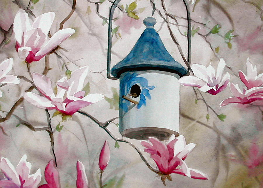 Birdhouse Painting - Heavenly Home by Faye Ziegler