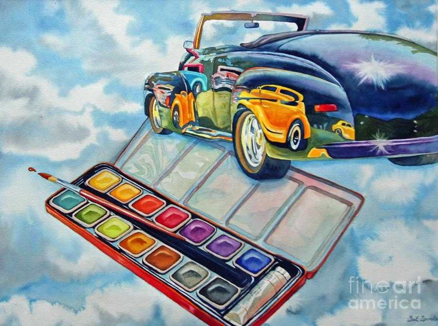 Paints Painting - Heavenly Hotrod by Gail Zavala