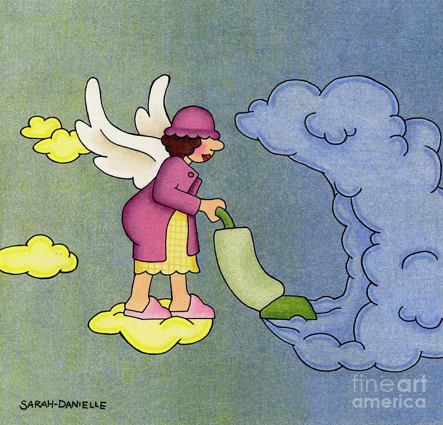Angels Drawing - Heavenly Housekeeper by Sarah Batalka