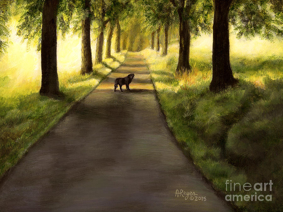 Serenity - Walk with Black Labrador by Amy Reges