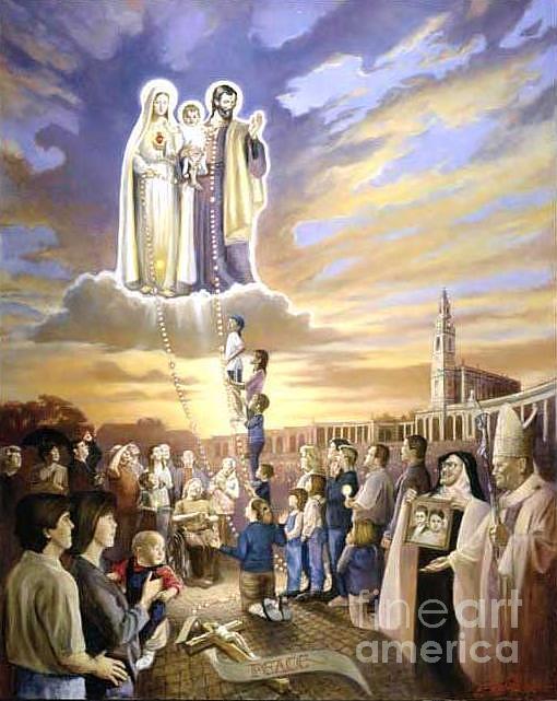 Catholic Painting - Heavens Call To The Family by Mark Sanislo