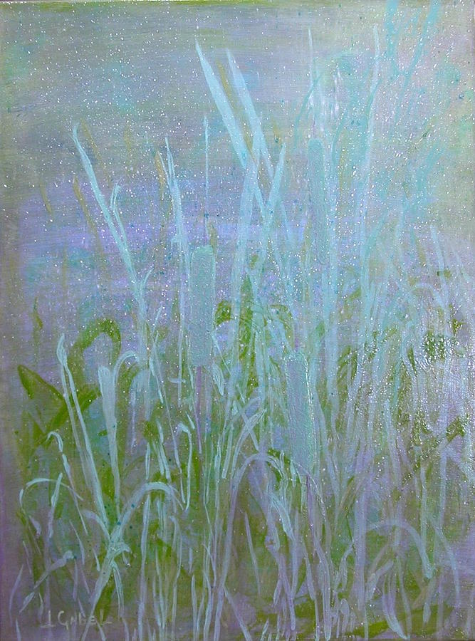 Landscape Painting - Heavens Cattails #1 by Laura Gabel