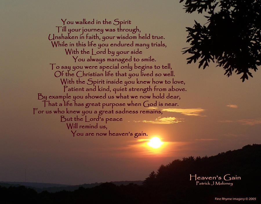 Poetry Mixed Media - Heavens Gain by Patrick J Maloney