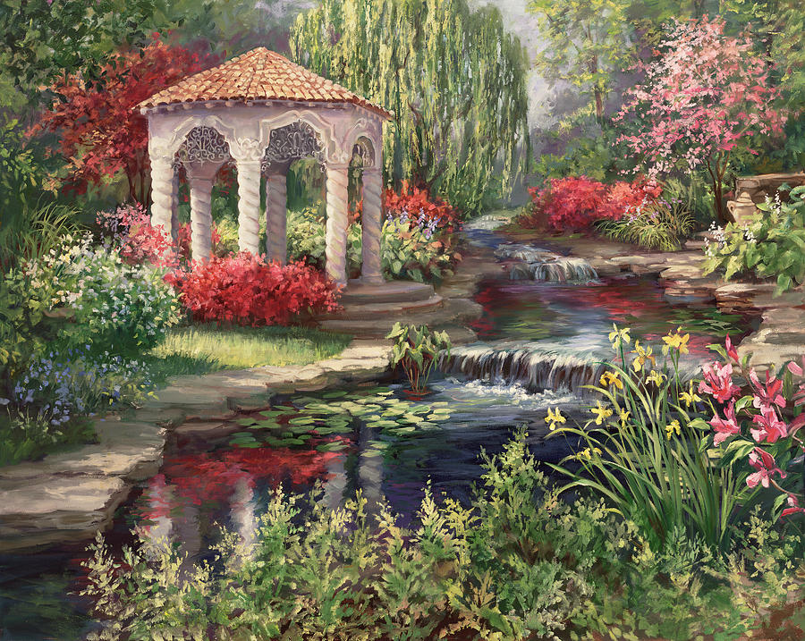 Heaven 39 s garden painting by laurie hein for Garden painting images