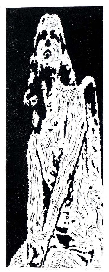 Black Painting - Heavenward --  Hand-pulled  Linoleum Cut by Lynn Evenson