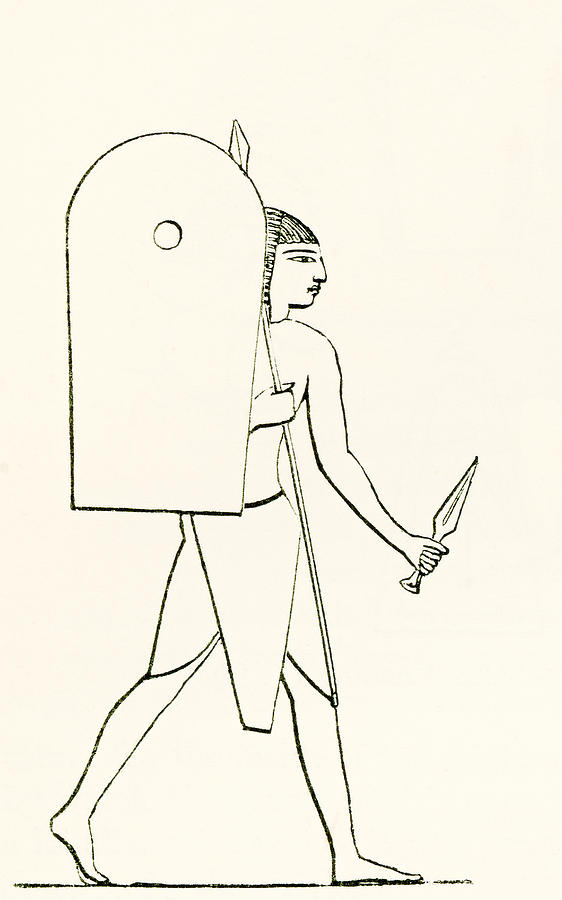 welsh drawing heavily armed ancient egyptian soldier by vintage design pics