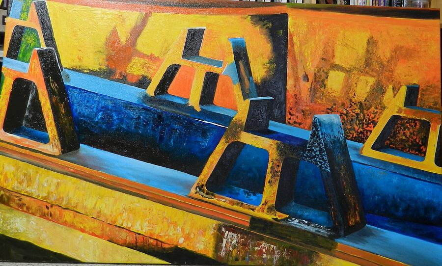 Abstract Paint Painting - Heavy machinery rusting to gold in the sunset by Ricardo Colugnatti