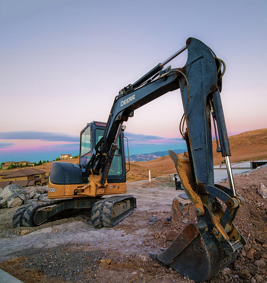 Heavy Machinery Under Long Exposure Summer Blue Hour After Sunset In Caughlin Ranch In Reno, Nevada Photograph