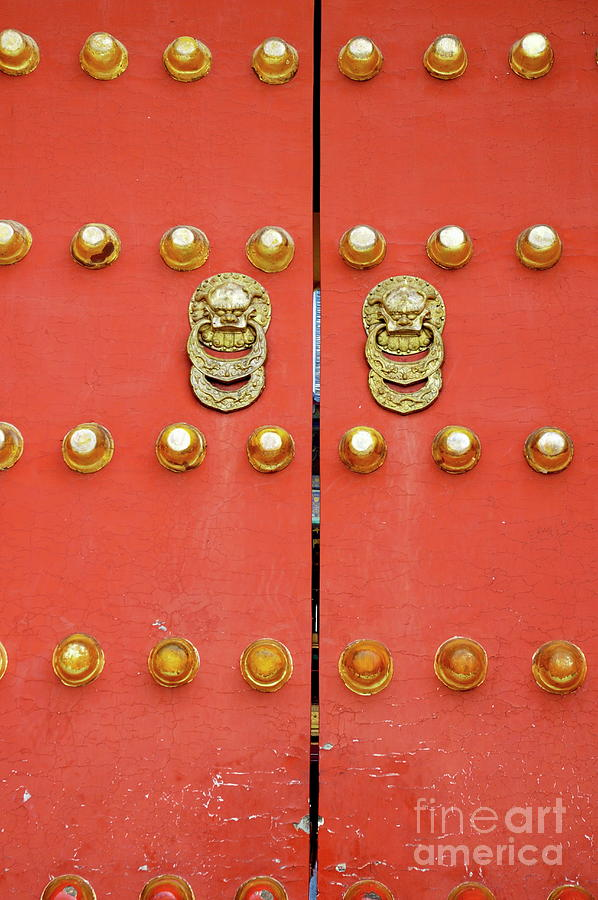 Asia Photograph - Heavy Ornate Door Knockers On A Gate by Sami Sarkis