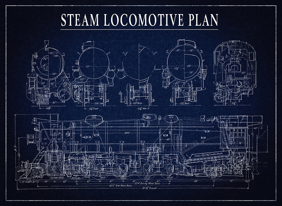 Heavy steam locomotive blueprint digital art by daniel hagerman locomotive digital art heavy steam locomotive blueprint by daniel hagerman malvernweather