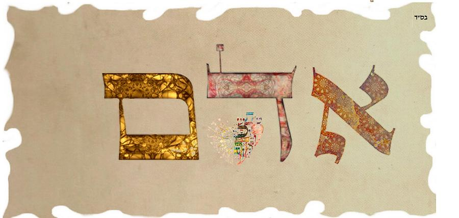 Hebrew calligraphy-Adam Digital Art by Sandrine Kespi