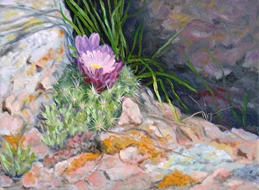 Hedgehog Painting - Hedgehog Cacti by Debra Mickelson