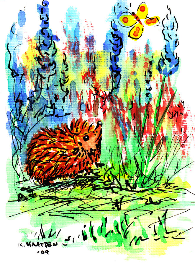 Hedgehogs Painting - Hedgehog In The Delphiniums by Kerry Hartjen